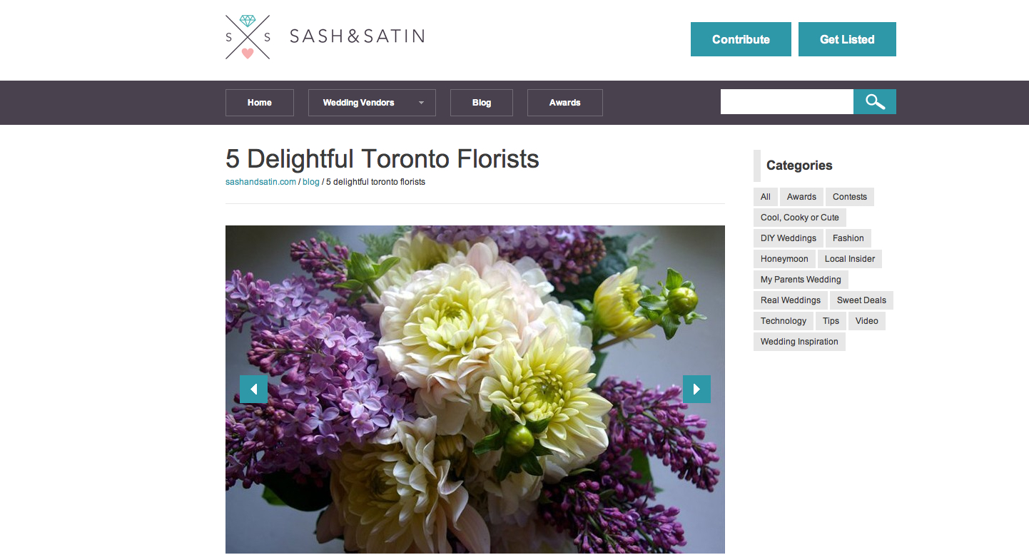 Botany floral studio 647 341 6646 toronto florist flower botany feature sash satins feature 5 delightful toronto florists we are izmirmasajfo