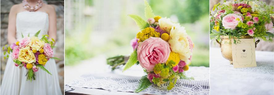 summer bridal bouquet, toronto wedding flowers, bridal bouquet pink and yellow, flowers toronto